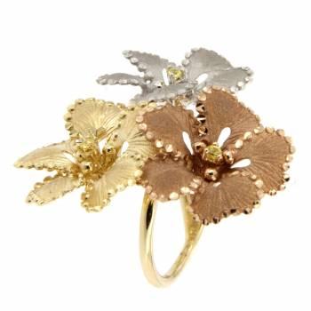 Кольцо золотое Roberto Bravo с желтыми сапфирами