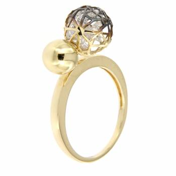 Золотое кольцо Roberto Bravo с камнями Swarovski