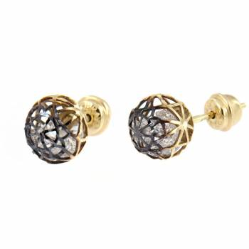 Золотые серьги Roberto Bravo с камнями Swarovski
