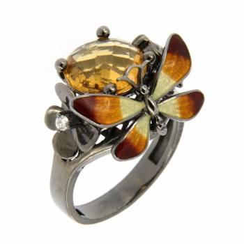 Золотое кольцо Roberto Bravo с бриллиантом, цитрином и цветной эмалью