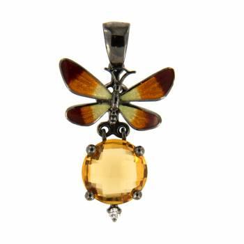 Золотой кулон Roberto Bravo с бриллиантом,цитрином и цветной эмалью