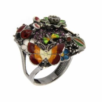 Золотое кольцо Roberto Bravo с бриллиантом, топазом, аметистами, цветной эмалью