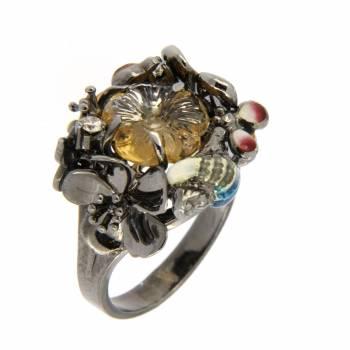Золотое кольцо Roberto Bravo с бриллиантами, цитрином и цветной эмалью