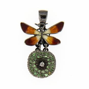 Золотой кулон Roberto Bravo с бриллиантом, хризолитами и цветной эмалью