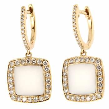 Золотые серьги с бриллиантами и агатом